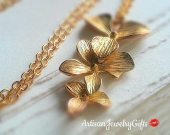 Gold Orchid Trio Necklace Gold Orchid Necklace Bridesmaid Necklace Orchid Charm Necklace Bridal Necklace Gold Orchids Necklace