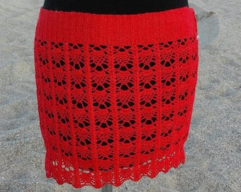 Crochet red 100% cotton skirt