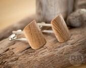 Curved Oak Wood Cufflinks