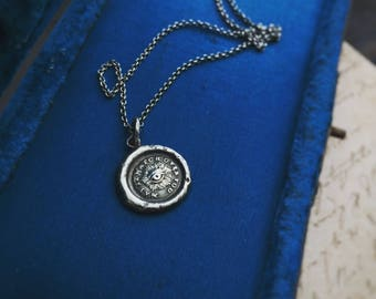 "Lovely cast Victorian seal necklace in sterling silver ""May it watch over you"""