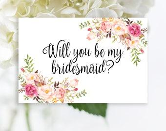 Will You Be My Bridesmaid Printable set, Burgundy bridesmaid card, Floral bridesmaid proposal card Boho card, Printable maid of honor card
