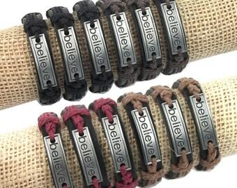 Genuine Leather  BELIEVE Hemp Wristband