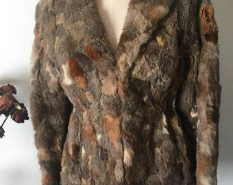 Vintage 1970's Authentic Multi Colored Rabbit Fir Coat / Wilson Leather