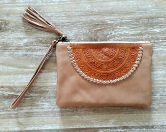 Woman Leather Wallet, bohemian leather wallet, Wallet for festival, tan leather wallet, leather clutch, organizer wallet