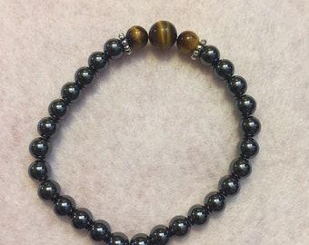 Metal Hematite & tigers eye bracelet