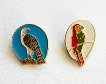 Bird Pin Badge..Soviet Vintage Pins..Set of 2..Wild Bird brooch..Ornithology Enamel Badge..Parrot, eagle