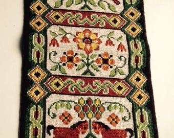 Vintage Swedish Embroidered Tapestry - Horses, Birds , Flowers