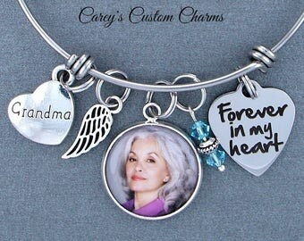 Grandma Memorial Keepsake Photo Charm Bracelet, Swarovski Birthstone, Sympathy Gift, Forever In My Heart, Angel Wing, Custom Picture Charm