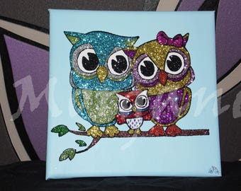 """canvas """"OWL family"""" done in acrylic paint and glitter"""