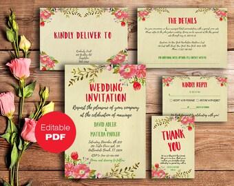 Printable Wedding invitation suite Wedding suite Rustic invitation set Wedding invite set Diy wedding printable Fall wedding set wedding
