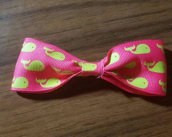 Pink Whale Print Bow