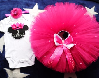 Minnie mouse 1st birthday girl outfit hot pink tulle , Minnie mouse tutu , Princess Minnie mouse tutu set , Disney's Minnie Birthday Outfit