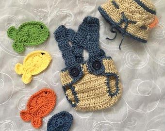 Crochet Infant Fisherman Outfit Set