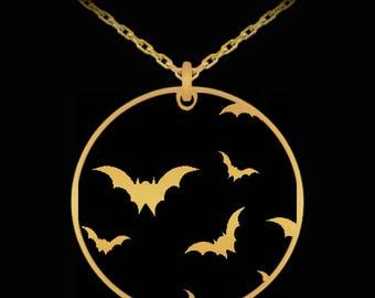 Flying bats pendant necklace