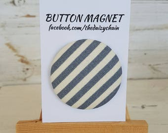 Large Fabric Button Magnet - Grey Stripe Design - Fridge Magnets - Office Magnets
