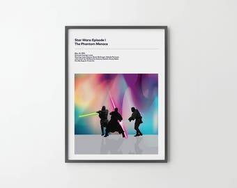 STAR WARS The Phantom Menace Poster Art Print, Movie Film Posters