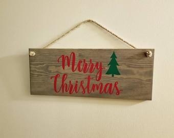 Merry Christmas rustic sign, rustic Christmas sign, Merry Christmas front door sign, rustic Christmas decor