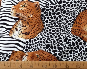 Leopards cotton fabric by the yard