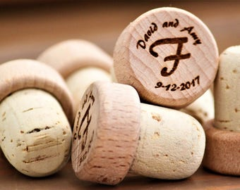 Wine Stoppers, Personalized Wine Cork, Wood Wine Stopper, Custom Engraved Bottle Stopper, Unique Wedding Favors