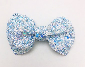 Ice Queen Glitter Bow Clip