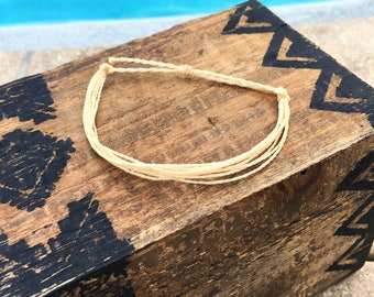Cream Basic Stackable Bracelet, Wax String Bracelet, Friendship Bracelet, Waterproof Bracelet