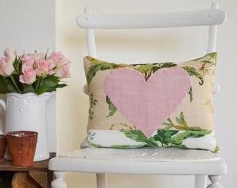 Botanical cushion with vintage linen heart design | Palm leaf design | Small rectangular cushion | Pretty scatter cushion | Botanical print