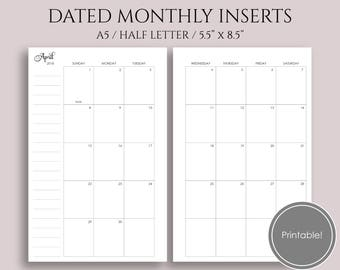 "2018 Dated Monthly Printable Planner Inserts, MO2P Sunday-Saturday Monthly Calendar ~ A5 / 5.5"" x 8.5"" Instant Download (MSS)"