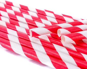 10 Paper Straws - Red and White Stripes - Bird Toy Part Party Supply Tableware