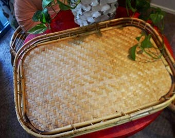Large Rattan Tray, Vintage Bamboo Serving Trays // SALE