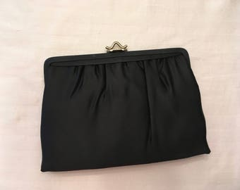 Mardane Black Satin Evening Bag