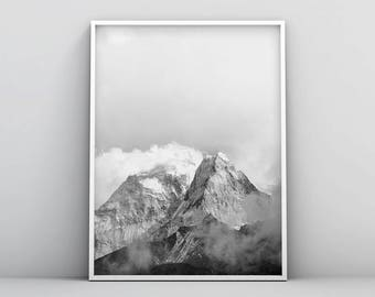 Minimalistic Mountain Printable, Black and White Mountain Print, Printable Mountain Prints, Misty Landscape Photography, Snow Mountain Art