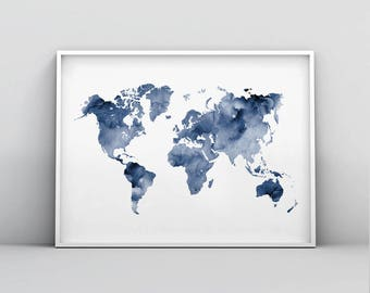 Blue world map etsy blue world map printable indigo map print navy map poster abstract world map gumiabroncs Gallery