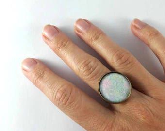 Pastel flower pattern cabochon Adjustable ring