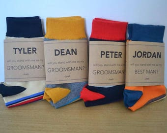 Will You Be My Groomsman & Best Man Sock Labels Customiseable PRINTABLE