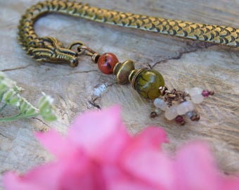 Bookmark dragon made of brass, copper and gemstones. Ally Dragon