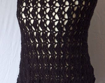 Crochet Asymmetrical black poncho, short and long with fringes