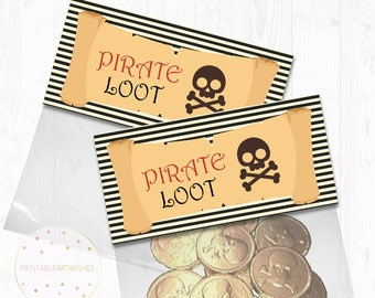 Pirate party printables, Pirate treat bags toppers, Pirate goody bags toppers, Pirate favor bags toppers, Pirate loot bag toppers, PAW104