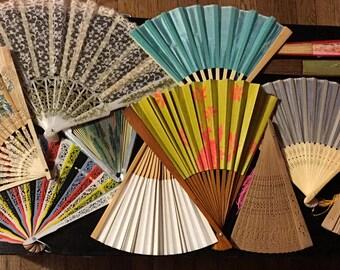 Sale! 14 Pc. Vintage Paper Fans Lot