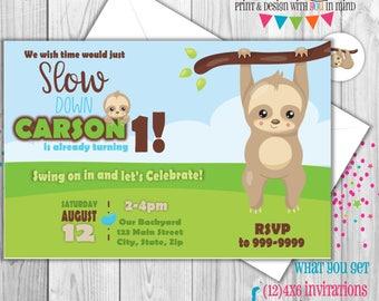 Sloth Birthday Party Invitations, Sloth baby shower invitations