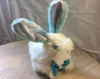 Vintage Blue & White Bunny Rabbit Stuffed Toy with soft fur (cute and creepy)