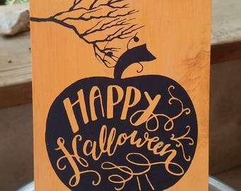 Happy Halloween hand painted, wood sign