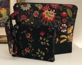 Medium Black Floral Wedgetote with coordinated Notions Pouch