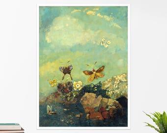 """Odilon Redon, """"Butterflies"""". Art poster, art print, rolled canvas, art canvas, wall art, wall decor"""