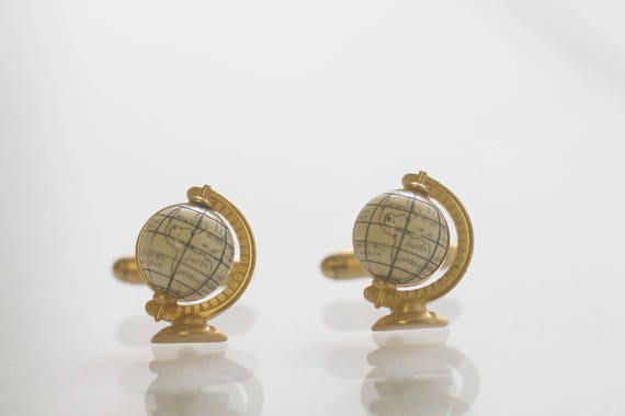 Vintage Cufflinks, World Globe Cufflinks, Vintage Men's Gift, Gift for World Traveler, Vintage Globe