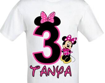 Minnie Mouse Birthday Shirt,Girl's Minnie Mouse Birthday Shirt,Personalised Birthday Shirt, Minnie Mouse Shirt,Girls Birthday Shirt.