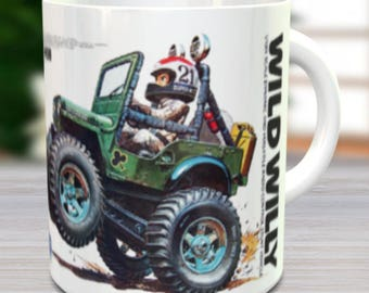 Wild Willy Coffee Mug with Optional Keychain, Vintage Model, RC Coffee Mug, Gift For Him, Hobbyist, Radio Controlled Car, Coffee Cup