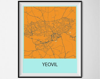 Yeovil Map Poster Print - Orange and Blue