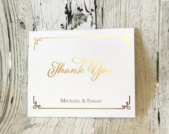 Personalized Thank You Card Set | Foil Thank You Cards