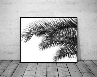 Plant Print, Leaf art, Botanical Photography, Wall Art Print, Black-White Wall Art, Printable Poster, Digital Download, 5 JPG's