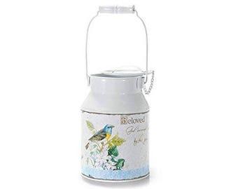 Metal bin country vase with handles and lids release bird